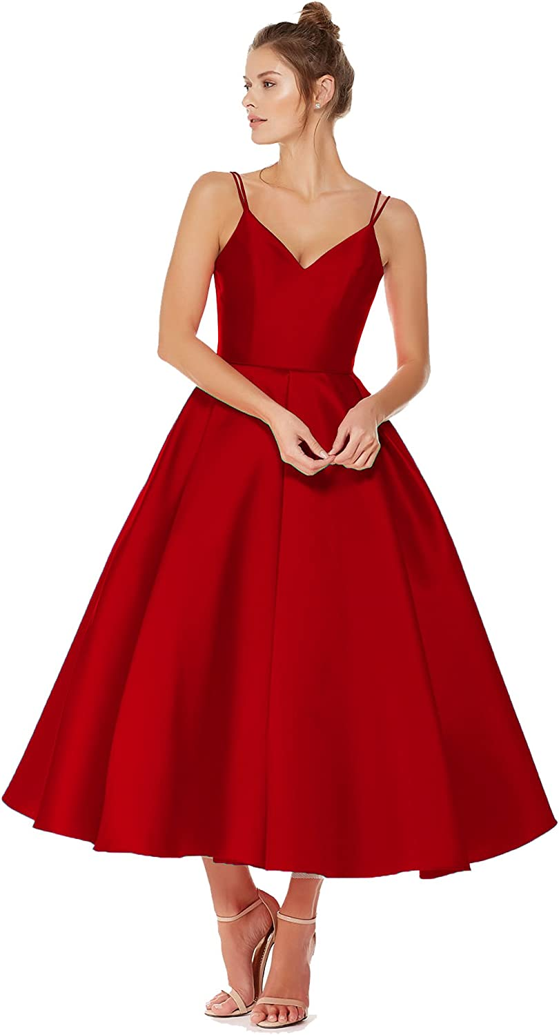Beauty Bridal Junior's V Neck Homecoming Dress Satin Prom Dresses TeaLength 2019 J92