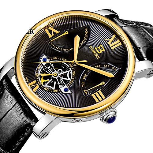 SW Watches BINGER Schweiz Männer Militäruhren,Japan Uhrwerk Automatische Hohle Tourbillon Mechanische Armbanduhr 5019,D
