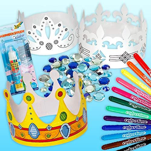 geburtstagsfee Kinder-Kronen Malset mit 6 Krönchen, Filzschreibern, Dekosteinchen und Kleber, für Prinzessin-Party