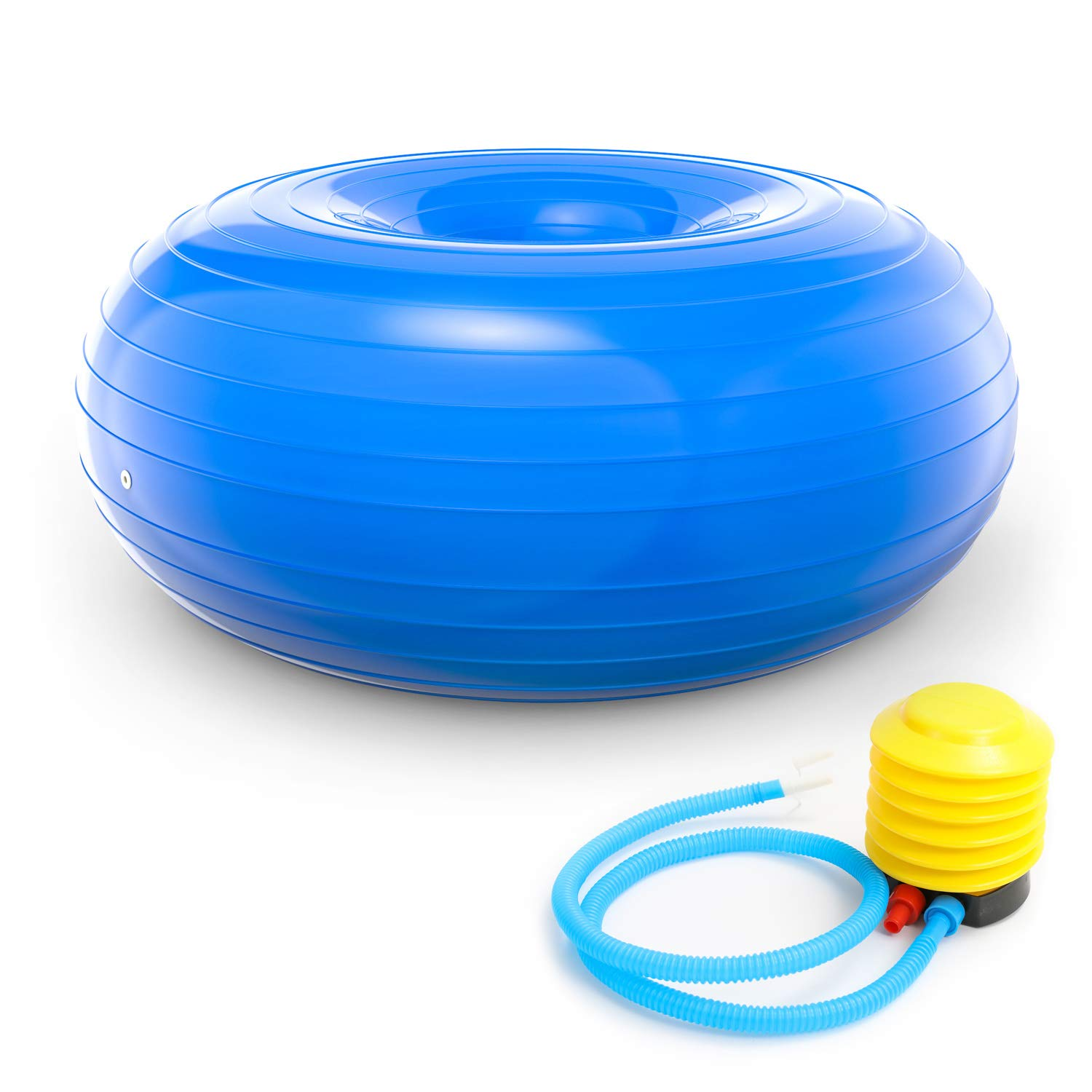 TECHMOO Donut Ball with Foot Pump Core Training Flexible Inflatable Donut Chiar for Classroom Furniture Balance Stability Balls for Yoga Pilates Gym Indoor Balance Training