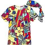 COSAVOROCK Disfraz años 70 Mujer Hippie Camiseta con Diadema (M, Flores)
