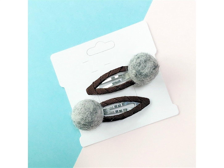法的クレデンシャル信号Osize 美しいスタイル キャンディーカラーキュートフェルトレインボーボールヘアピンBBクリップサイドクリップヘアピン(グレー)