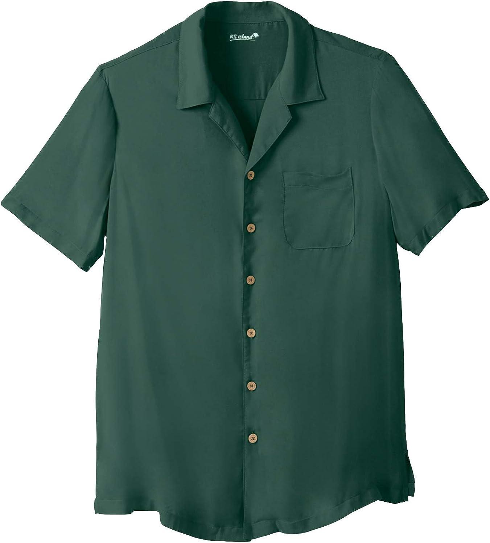 KingSize KS Island Men's Big & Tall Solid Rayon Short-Sleeve Shirt