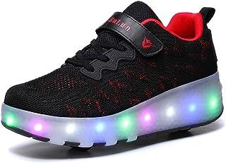 Bruce Wang Unisexe Kids Scooter LED Chaussures Light up Double Roues Skateboard Sneakers en Plein Air Sport Entraînement R...