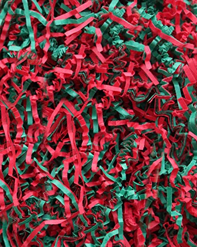 'Soft & Thin' Cut Crinkle Paper Shred Filler (1 LB) for Gift Wrapping & Basket Filling - Green and Red | MagicWater Supply