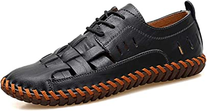 Moodeng Men`s Closed Toe Leather Sandals Sport Outdoor Sandals Summer Lace up Shoes Causal Fisherman Shoes
