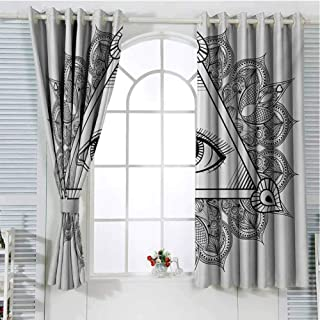 Eye Grommets Curtain for Kids Room Triangle Shape with Wavy Figures and All Seeing Eye Tattoo Style Spiritual Masonic Darkening Darkening Curtains 63