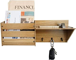 ChasBete Rustic Key Holder for Wall Decorative, Mail Organizer Wall Mount Entryway Shelf with Hooks Wood Hanging Shelves, Dark Brown