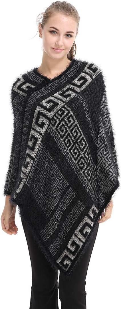 Teerwere Fall Warm Scarf Women Shawl Scarf Winter Geometric Patterns Wraps Shawl Cardigans Sweater Coat Scarves Cozy Warm for Winter (Color : Black)