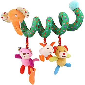 Lalang Baby Kids Spiral Activity Hanging Toys Stroller Toy Car Seat Bed Hanging Toys (Elephant)