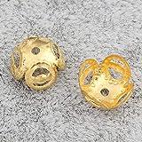 Perlin 300 pezzi in filigrana di tappi di perle 8 mm in metallo dorato distanziatore perline intermedie per gioielli collana bracciale anello M485 x 3