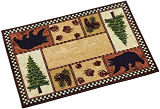 Northwoods Icons Skid-Resistant Accent Rug with Black Bears, Pinecones, Pine Trees Cabin Decor