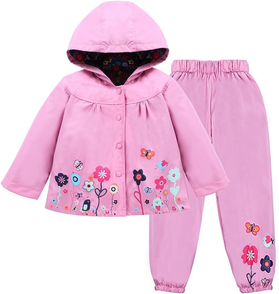LZH Toddler Girls Raincoat Waterproof Rain Jacket Pants Suit with Hooded