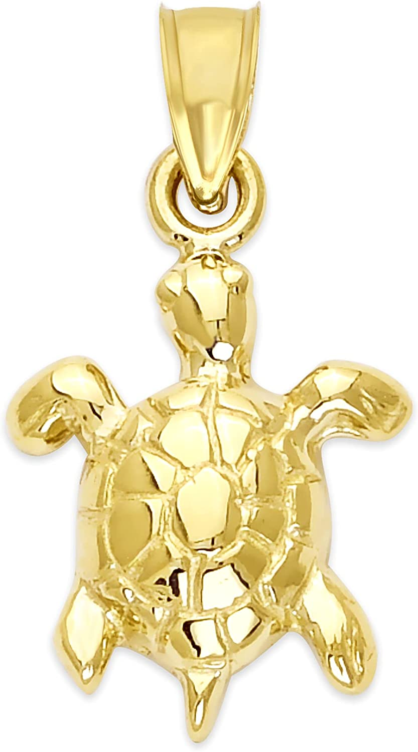 10k Dainty Solid Gold Sea Turtle Pendant, Marine Animal Jewelry Gifts for Her