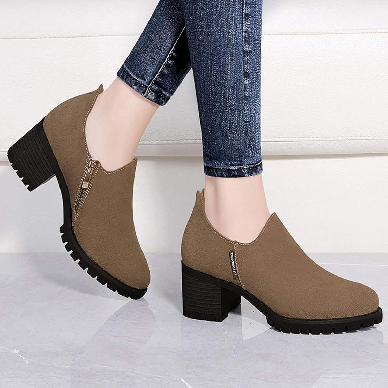 YIWU Frühling einzelne einzelne einzelne Schuhe weiblich 2019 Schuhe Dicke Ferse high Heels mittlere Ferse ms Leder Schuhe weibliche Schuhe (Farbe   braun, Größe   EU36 UK3.5 CN35)  e2d81d