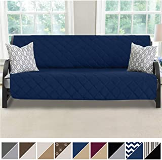 MIGHTY MONKEY Premium Reversible Futon Slipcover, Seat Width to 70 Inch Furniture Protector, 2 Inch Elastic Strap, Washable Slip Cover for Futons, Protects from Kids, Dogs, Cats, Futon, Navy Blue Tan