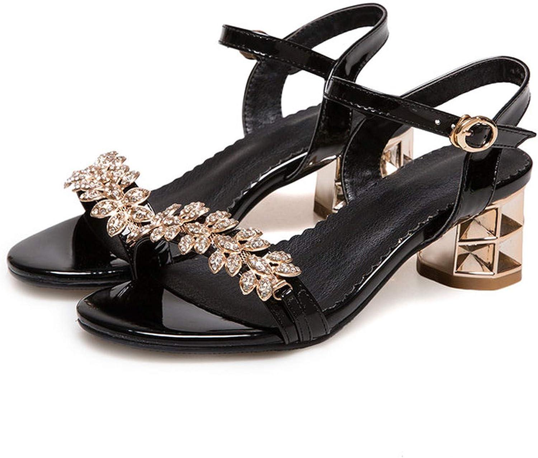 Women Sandals Summer High Heel Sandals Crystal Party Sandals Flower Thick Heels,Black,4