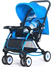 Xiaoli Sillas de Paseo Cochecito de Alto Paisaje Puede Sentarse reclinable Carro de bebé Ligero y Plegable Choque de Cuatro Ruedas Bebé Carro de bebé bidireccional Cochecito de bebé (Color : Blue)