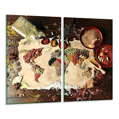 TMK | Herdabdeckplatten 2 Teilig 2x30x52 cm Ceranfeldabdeckung Küche Elektroherd Induktion Herdschutz Spritzschutz Glasplatte Schneidebrett Bunt Gewürze