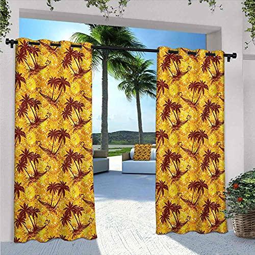 Tenda per gazebo impermeabile hawaiano, motivo a tema Ocean Sea Island, con palme su sfondo a cerchio vivido, isolamento termico, ombreggiatura e impermeabile, 72 x 201 cm, colore: calendula e marrone
