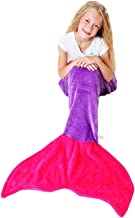 Cuddly Blankets Mermaid Tail Blanket - Super Soft and Warm Polar Fleece Fabric Blanket Perfect for Kids and Teens (Ages 3-12) (Dark Purple and Hot Pink)