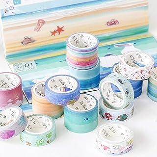 QTYYLJRuban de masquage16pcs Incroyable Sea Dream Washi Tape Monde sous-Marin Ruban Adhésif Décoratif DIY Scrapbooking A...
