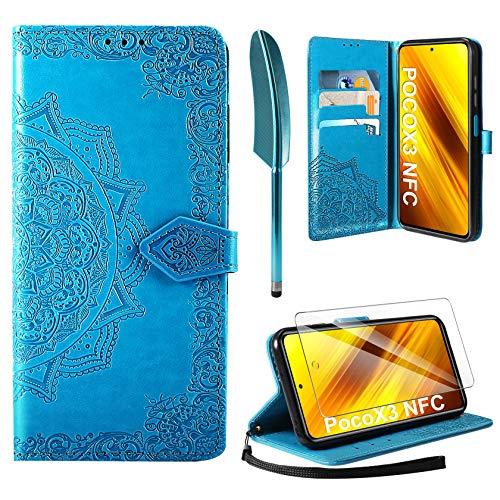 AROYI Funda Compatible con Xiaomi Poco X3 NFC y Protector de Pantalla, Funda Libro Protectora Piel PU Soporte Plegable Ranura para Tarjeta Magnético Cuero Flip Carcasa Case, Azul