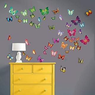 WALPLUS WS3013 Paquete Combo de Mariposas más WS1022, Adhesivo Mural 3D Colorido, de Mariposas