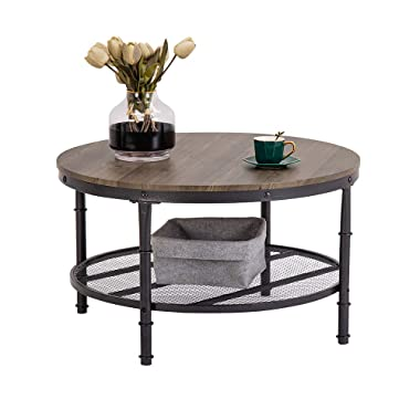 Bonnlo 31.5  Industrial Coffee Table for Living Room 2-Tier Vintage Round Coffee Table with Metal Storage Shelf