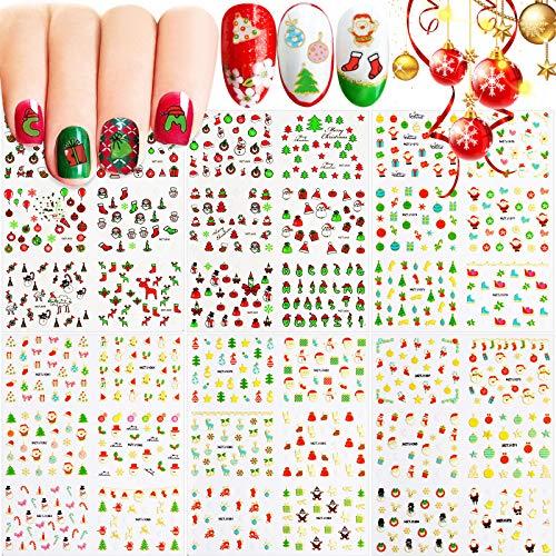 EBANKU 6 Modelli Adesivi Unghie Natale Natalizi Decalcomanie Nail Stickers Decals Natale Adesivi per Decorazioni Unghie Nail Art Fai da Te