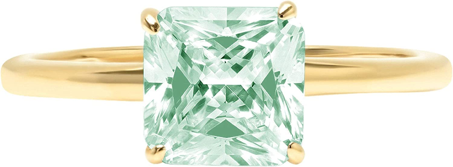 1.4ct Brilliant Asscher Cut Solitaire Light Sea Green Simulated Diamond Cubic Zirconia Ideal VVS1 D 4-Prong Engagement Wedding Bridal Promise Anniversary Ring Solid 14k Yellow Gold for Women