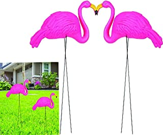 "PlayO Flamingo Yard Ornament - 34"" Long - Outdoor Garden Lawn Decoration - Bright Pink Flamingos Outdoor Decor"