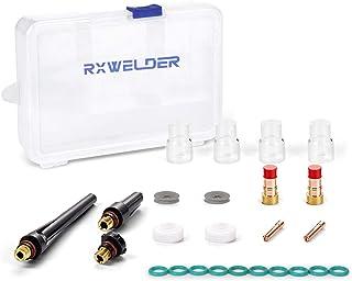 "RX WELD 23PCS TIG Stubby Gas Lens 17GL332 3/32"" & #12 Pyrex Cup & TIG Gas Lens Alumina Nozzle Kit Fit DB SR WP 17 18 26 TIG Welding Torch"