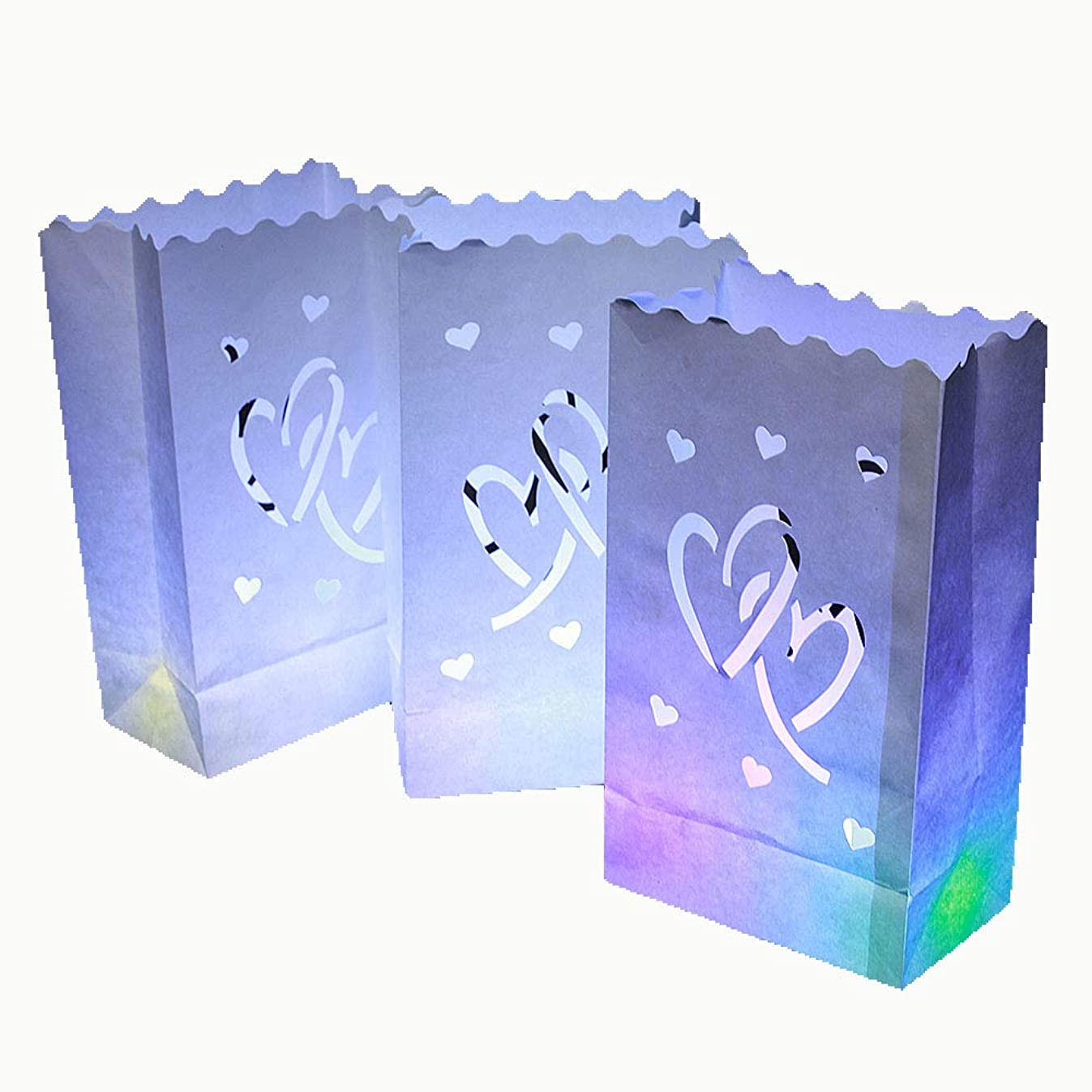ZOOYOO Candle Paper Bag,Luminary TeaLight Hollowed, Make for Wedding Birthday Courtship New Year or Other Party More Perfect,White,20pcs (Twin-Heart)