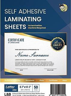 (50 Sheets) HASHI Self Adhesive Laminating Sheets A4, No Machine Need, Letter Size, 23 x 30 cm