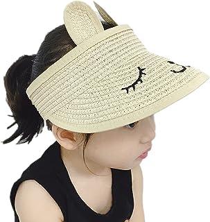 BZCSHOW Summer Thin Section Baby Hat, Cute Empty Straw Hat, Foldable Sun Hat Sun Hat Child Hat,UV Sun Protection Beach Wid...