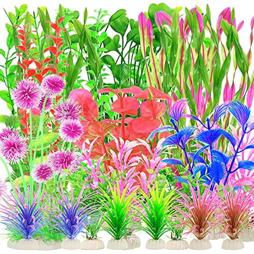 30piezas de plantas de plástico para acuarios,decoraciones de plantas acuáticas para peceras,plantas de acuario artificiales,plantas acuáticas falsas realistas,decoración de acuarios