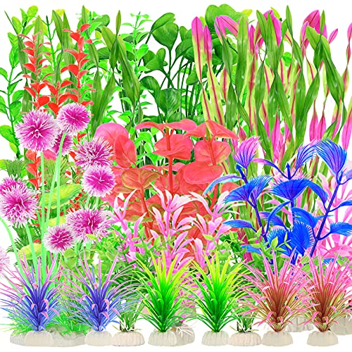 Lot de 30 plantes aquatiques artificielles en plastique pour aquarium, plantes aquatiques réalistes (couleurs mélangées)