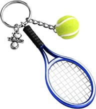 CHOORO Tennis Player Gifts 3D Mini Tennis Racket and Tennis Ball Keychain Set Tennis Gift for Tennis Lovers/Tennis Team/Tennis Coach