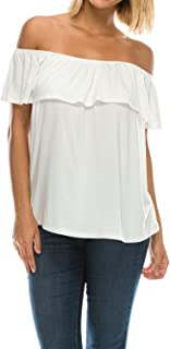 2a2837d8185be0 Womens On Off Shoulder Ruffle Neck Flowy Blouse Top Made in USA