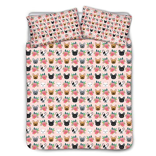 UNICEU Frenchie French Bulldogs Dog Printed Bedding 3 Piece Set Quilt Cover Pillowcase Pink Floral Bedspreads Bedclothes (Queen/Full, Black)