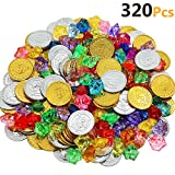 HEHALI 320pcs Pirate Toys Gold Coins and Pirate Gems Jewelery Playset, Treasure...