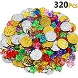 Akrcheft 320 Stück Goldmünzen des Piratenschatz Spielzeugs und Piraten Schmucksteine Set, Schätze...