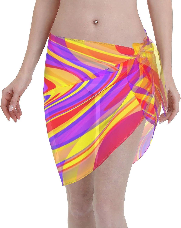 Women Short Sarongs Beach Wrap,Women's Sheer Bikini Wraps Chiffon Cover Ups for Swimwear