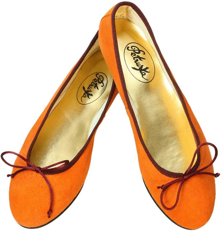 Ballerinas Delhi Wildleder Orange klassische Ballerinas aus Spanien
