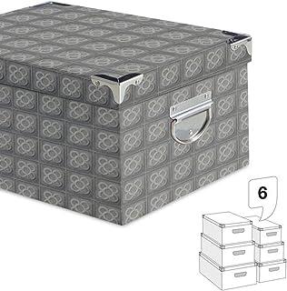 Deco Line Set 6 cajas de cartón Panot Barcelona, gris, hasta 50 cm