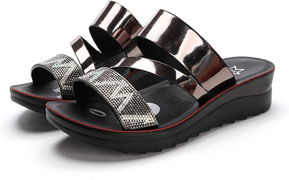 CYBLING Women's Rhinestone Platform OFFicial mail order Wedge Sandals Op Max 59% OFF Comfortable