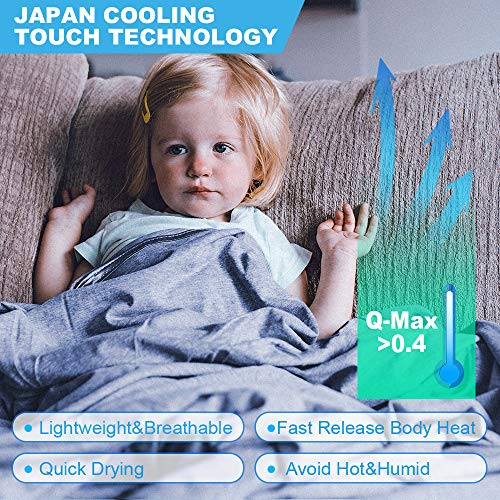 Cooling Blanket Japanese Q-Max 0.4 Technology Keep Cool in hot Summer, 51 X 67in Twin or Baby Sized Blanket for Adults, Children, Babies. Mica Nylon and PE Cool Fabric Breathable Comfortable.(Blue)
