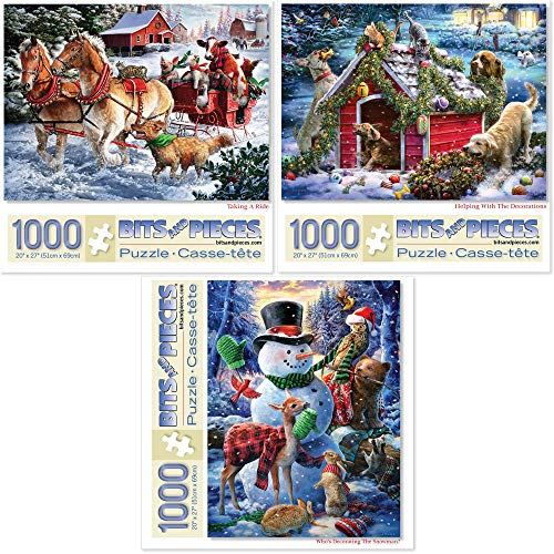 Bits and Pieces - Value Set of Three (3) 1000 Piece Jigsaw Puzzles for Adults - Each Puzzle Measures 20' X 27' - Winter Holiday Forest Animals Jigsaws by Artist Larry Jones