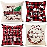 cuscini natalizi copricuscino per divano natalizie decorativi di natale cuscino sedie natalizio federe natalizi 45x45 imbottitura addobbi casa telo salotto tartan fiocchi di neve lino